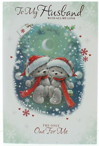 """Husband Christmas Card -Bears In Santa Hats On Swing With Glitter & Foil  9 x 6"""""""