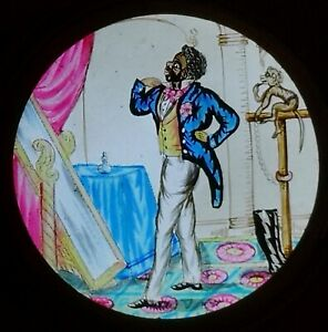 VICTORIAN HAND PAINTED MAGIC LANTERN LEVER SLIDE / NOT POLITICALLY CORRECT