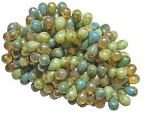 5x7mm Organic Mixed Picasso Czech Glass Teardrop Beads (50) #4861