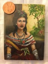 ACEO handmade oil painting historical classical realism girl flowers woman folk