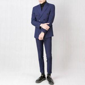 Men's Formal Dress Suit Wedding Groom 2PCS Blazer Pants Double Breasted British