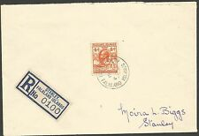 FALKLAND IS 1947 REG COVER SENT LOCALLY FRANKED BY 4d WHALE AND PENGUIN STAMP