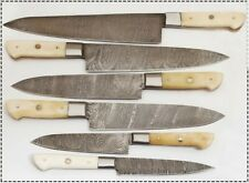 EST Custom Handmade Damascus Steel Beautiful 6Pcs. Kitchen Knives Set-071-Bone