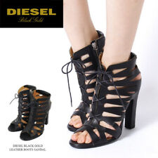 DIESEL Black Gold BEA Size 8.5 Lace Up High Ankle Side Heelss Sandals Shoes 39