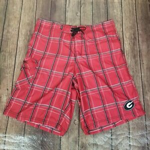 Georgia Bulldogs Board Shorts CSS Surf Mens Size 36 Red Plaid Polyester