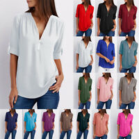 Women V Neck T-shirt Top Short Sleeve Blouse Zipper Summer Casual Tee Plus Size