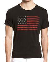John Varvatos Star USA Men's Short Sleeve Skull Flag Graphic Crew T-Shirt Black