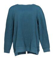 Denim & Co. Women's Top Sz XL Brush Back Terry Long-Sleeve Pullover Blue A344048