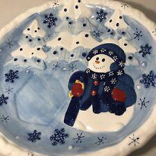 "BICO China 15"" Blue Snowman snowflakes Serving Platter Tray Christmas Holiday"