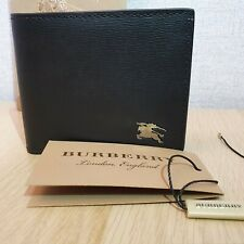 Burberry Bifold Wallet Grainy Leather House Check 100%Genuine Black Logo Best