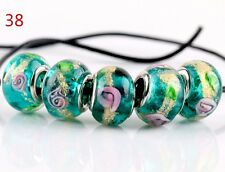 5pcs SILVER MURANO GLASS BEAD fit European Charm Bracelet Jewelry Making [38#]