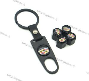 4x Car Keychain For Cadillac Styling Logo Wheel Tire Valve Caps Air Valve Covers