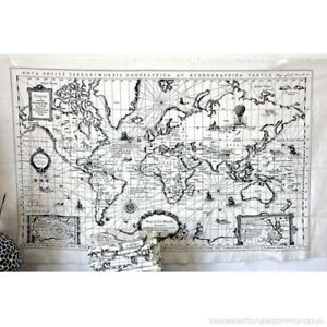 World Map Linen Fabric - World Map Curtain Material Tapestry 65 x 105cm panel
