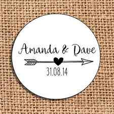 Wedding favour 24 stickers save the date personalised   monochrome arrow heart