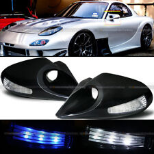 For 83-93 S10 Zero Style Manual Blue / White LED Signal Side Mirror
