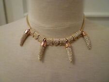 NEW: REBECCA MINKOFF Rose Gold Plate and Crystal Pave 4 Horn Necklace