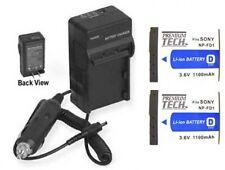 TWO NP-BD1 NP-FD1 NF-FD1 Batteries + Charger for Sony DSC-G3 DSC-T2 DSC-T2/L