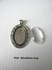 PC6. 5sets 20x30mm oval antique silver blank cabochon bezel setting pendant  UK