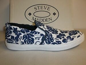 Steve Madden Size 7 M Gunman Floral Blue Canvas Slip On Loafers New Mens Shoes