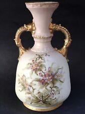 Antique Royal Crown Dolphins Figure Handles Hand Paint Vase Aesthetic Movement