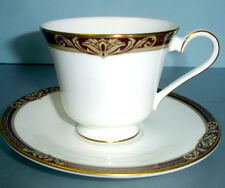 Royal Doulton Tennyson Footed Tea Cup & Saucer Set Burgundy/Gold Trim New