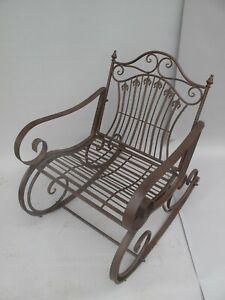 Schaukelstuhl Gartenmöbel Eisen Schaukelsessel Stuhl rustikal braun Antikstil