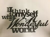 10158-What a wonderful world, plasma cut sign,quote,metal wall art,Christmas