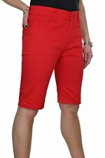 Womens Plus Size Jeans Style Shorts Chino Sheen Red NEW 14-24