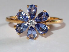 Tanzanite 6-stone & Zircon floral ring in gold overlay Sterling Silver, Size O.