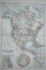 1900 LARGE MAP NORTH AMERICA INSETS OF CHICAGO AND PANAMA CANAL