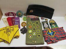 Lot of Vintage Boy Scouts Stuff 1960's Sash w/ 11 Patches Pins Hats Scarves More