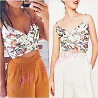 Zara White Floral VNeck Wrap Draped Crop Top Size US 2 UK 6 XS Fashion Blogger ❤
