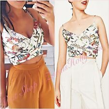 Zara White Floral VNeck Wrap Draped Crop Top Size US 2 UK 6 XS Fashion Blogger ❤