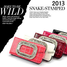 NEW Premium 5 Colors Bling Diamond Snake-Stamped Flip Case Cover For iPhone 4 4S