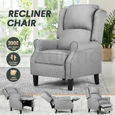 Luxury Recliner Chair Armchair Single Sofa Padded Fabric Couch Lounge Chair Grey