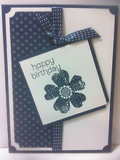 Handmade female birthday card. Blue. Design #2