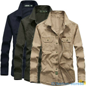 Mens Long Sleeve Work Cargo Cotton Shirt Button Tops Military Army Combat Style