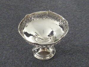 Mappin & Webb pierced vintage hallmarked silver round bon-bon dish, tazza