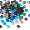 200PCS Handmade Silver Foil Glass Beads Round Mixed Color 8mm DIY Craft Making