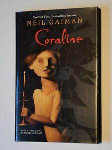 CORALINE Gaiman Hardcover 1st edition * SIGNED +PLUS+ RAT DRAWING !!!*