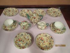"""TEA FOR TWO, VINTAGE CHINTZ by EMPIRE WARE, """"EXOTIC BIRDS"""", 13 PIECES, VGC"""