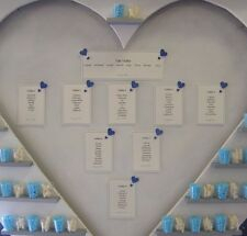 10 Handmade Personalised Wedding Table Plan & Table top Cards Many heart colours