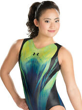 New UA Gymnastics Bodysuit Leotard Black Green 6321 Youth 10-12 CM