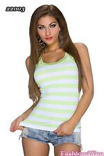 Ladies Vest Top Sexy Womens Summer Casual Stripped Lace Top Size 8/10,12/14 UK