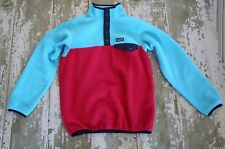 PATAGONIA Long Sleeve SYNCHILLA SNAP T Fleece Pull Over Coat Jacket Pink Blue 14