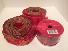 """Christmas Ribbon Red & Gold Wire Edge 1.5"""" Wide Poinsettias Lot of 3"""
