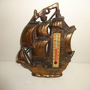 Thermometer Schiff aus Kupfer ca. 14,5 cm