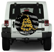 "26""-28"" SPARE TIRE COVER American Flag JEEP SUV RV Trailer ""Don't Tread on Me"""