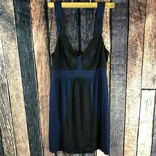 Kimchi Blue Urban Outfitters Womens Blue Black Mesh Embroidered Shirt Tank NWT