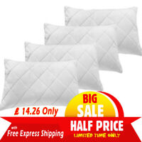 4 Pack Luxury Quilted Pillows Ultra Loft Jumbo Super Bounce Back Bed Pillows